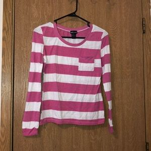 Pink & white stripped long sleeve tee